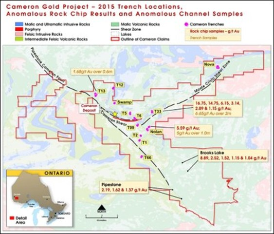 Figure 1: Map showing location of significant rock chip and trenching samples (CNW Group/Chalice Gold Mines Limited)