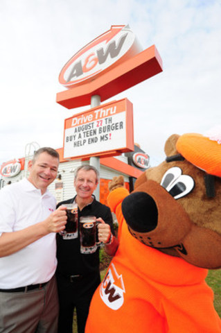 Cruisin' to End MS: On August 27th, A&W celebrates its 7th annual Cruisin' to End MS to benefit the MS Society of Canada. On this day, $1 from every Teen Burger(R) sold will be donated to help end MS. Paul Hollands, Chairman and CEO, A&W Food Services of Canada Inc. (centre) and Yves Savoie, President and CEO, Multiple Sclerosis Society of Canada were joined by the Great A&W Root Bear(R) to kick-off the event. (CNW Group/A&W Food Services of Canada Inc.)