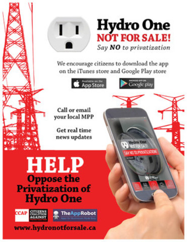 Download the app today to help fight the privatization of Hydro One. (CNW Group/Citizens Coalition Against Privatization)