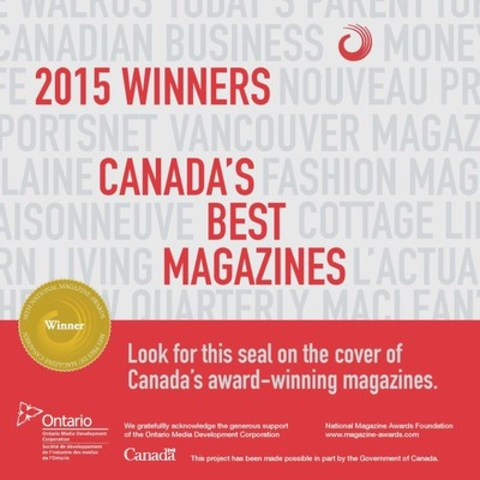 Look for the NMA seal on the cover of Canada's best magazines (CNW Group/National Magazine Awards Foundation)
