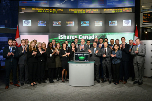 Warren Collier, Head of iShares Business, Blackrock Canada joined Robert Peterman, Director, Global Business Development, Toronto Stock Exchange & TSX Venture Exchange to open the market to launch five new funds: iShares Core S&P U.S. Total Market Index (XUU); iShares Core MSCI All Country World ex Canada Index ETF (XAW); iShares U.S. High Dividend Equity Index ETF (XHU); iShares Core MSCI EAFE IMI Index ETF (XFH) and iShares Core S&P U.S. Total Market Index ETF (XUH). iShares Funds are managed by BlackRock Asset Management Canada Limited. BlackRock provides investment management, risk management and advisory services for institutional and retail clients worldwide. Blackrock has 97 ETFs listed on Toronto Stock Exchange with a market value of almost $54 billion. These five new ETFs commenced trading on Toronto Stock Exchange in February, 2015. For more information please visit www.blackrock.com (CNW Group/Toronto Stock Exchange)