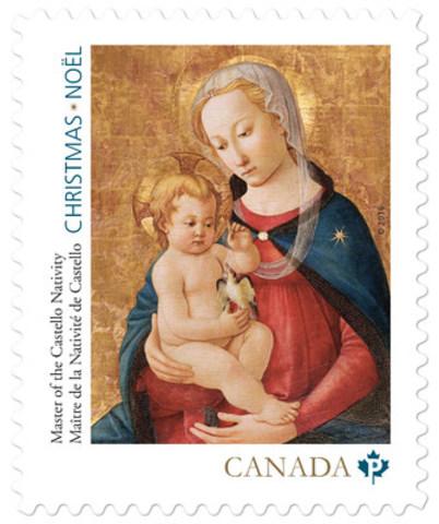 Vierge et l'Enfant – par un peintre de Florence, en Italie, dont l'identité est inconnue et qui est surnommé le Maître de la Nativité de Castello. (Groupe CNW/Postes Canada)