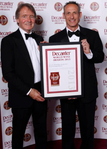Steven Spurrier, Chairman of the Decanter World Wine Awards presents the coveted International Trophy to Rick Bonitati, President of Winery & Vineyard Estates at Mission Hill Family Estate. (CNW Group/Mission Hill Family Estate)