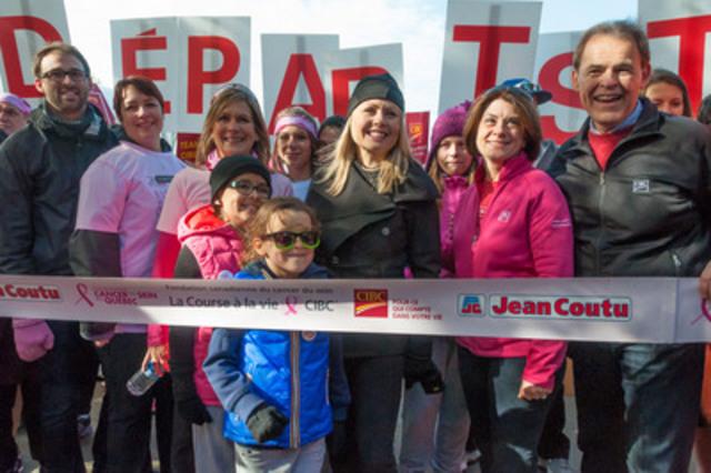 Aujourd'hui avait lieu la 17e édition de la Course à la vie CIBC. Pour l'occasion, plus de 20 000 participants se sont joints à Mitsou Gélinas, la porte-parole de la Fondation du cancer du sein du Québec, sur les sites de Montréal, Québec et Sherbrooke pour soutenir la lutte au cancer du sein. (Groupe CNW/Fondation du cancer du sein du Québec)