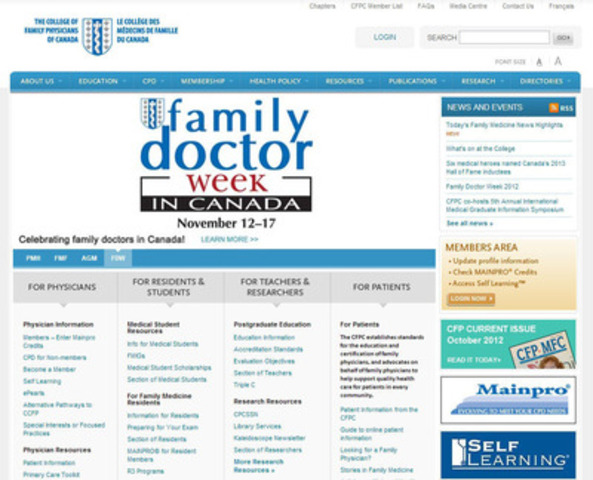 The College of Family Physicians of Canada - Website screen capture - visit www.cfpc.ca (CNW Group/College of Family Physicians of Canada)