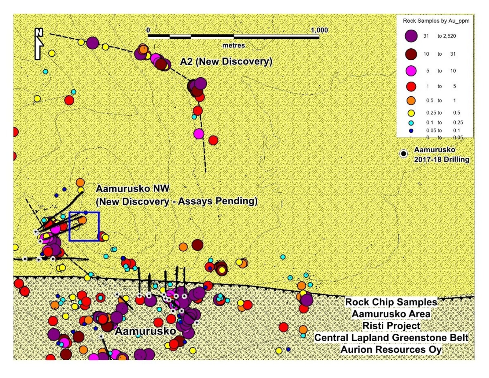 Figure 2: Two new high grade discoveries at Aurion's Risti Project
