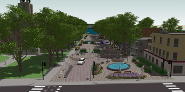 Concept d'aménagement de la future place publique dans le Vieux-Pointe-aux-Trembles (Groupe CNW/VILLE DE MONTREAL - ARRONDISSEMENT RIVIERES-DES-PRAIRIES - POINTE-AUX-TREMBLES)