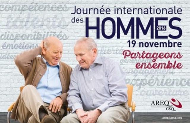 En 2016, à l'occasion de la Journée internationale des hommes, qui a lieu le 19 novembre, l'Association des retraitées et retraités de l'éducation et des autres services publics du Québec (AREQ) a conçu une affiche promotionnelle sous le thème « Partageons ensemble ». (Groupe CNW/AREQ (CSQ) - Association des retraitées et retraités de l'éducation et des autres services publics du Québec)