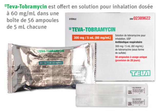 Teva-Tobramycin est offert en solution pour inhalation dosée à 60 mg/mL dans une boîte de 56 ampoules de 5 mL chacune. (Groupe CNW/Teva Canada Limitée)