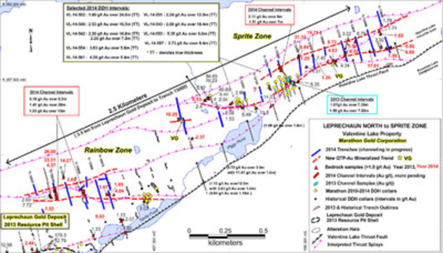 Figure 1: Location map showing of the Rainbow and Sprite Zones along strike NE of the Leprechaun Gold Deposit and the series of new trenches exposing extensive QTP and gold mineralization trends. (CNW Group/Marathon Gold Corporation)