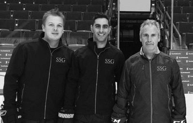 Spartan Sport Group founders Nathan Fischer, Yashar Farmanara and Willie Desjardins run through an on-ice practice together. (CNW Group/Spartan Sport Group)