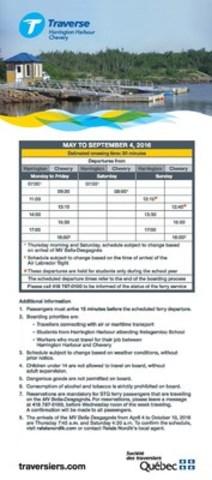 Schedule (CNW Group/Société des traversiers du Québec)