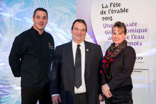 Pierre Résimont, Serge Beaulieu et Geneviève Béland. (Groupe CNW/FEDERATION DES PRODUCTEURS ACERICOLES DU QUEBEC)