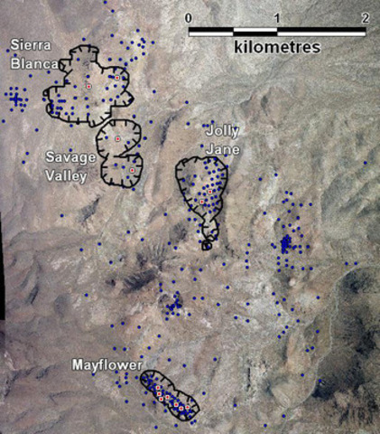 Figure 1: North Bullfrog Project areas showing the location of the different resource areas and the PQ core holes used for metallurgical sampling. (CNW Group/Corvus Gold Inc.)