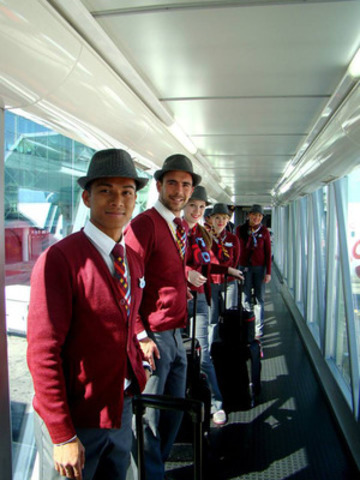 Air Canada rouge Montreal Barcelona 4 - rouge crew on the bridge in Barcelona after the first flight from ...