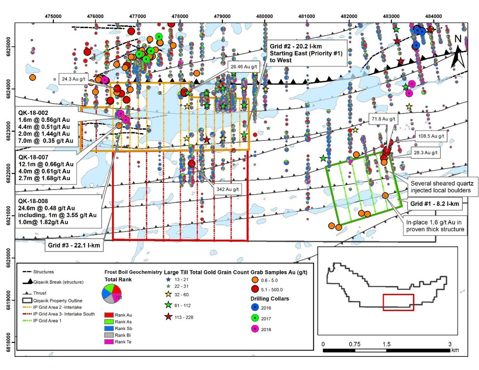 Figure 1: Planned IP Survey Coverage Area on the Qiqavik Property. Note that grab samples are selective by nature and values reported may not be representative of mineralized zones. Drill intervals reported in this news release are down-hole core lengths as true thicknesses cannot be determined with available information.