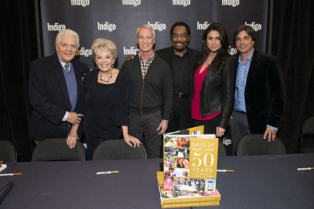 Cast from the Multi-Emmy Award-winning daytime drama Days of Our Lives sign copies of their latest book Days of Our Lives: 50 years to celebrate the show's 50th anniversary. The Canadian tour is stopping in Toronto, Calgary and Vancouver this week. Left to right Bill Hayes, Susan Seaforth-Hayes, Greg Meng (Co-Executive Producer and Author), James Reynolds, Nadia Bjorlin and Bryan Dattilo. (CNW Group/Sony Pictures Television Canada)