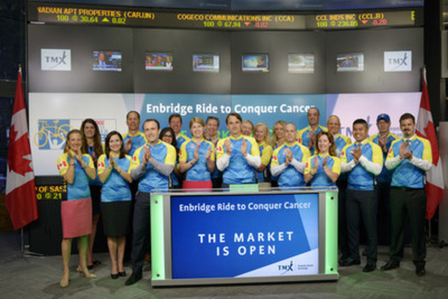 Steve Merker, Vice President, Business Development, Princess Margaret Cancer Foundation joined Shaun McIver, Chief Client Officer, Equity Capital Markets, TMX Group to open the market to raise awareness of the 2016 Enbridge Ride to Conquer Cancer.  Also joining them were Cameron Fowler, Honorary Chair of the Enbridge Ride to Conquer Cancer, as well as 2016 Ride supporters. The Enbridge Ride to Conquer Cancer is a 200+KM cycling journey between Toronto and Niagara Falls that raises funds for the Princess Margaret Cancer Centre, one of the top 5 research centres in the world and home to Canada's most comprehensive Immune Therapy program. To date the Ride has raised more than $138 MM for the cancer centre. For more information, please visit http://www.conquercancer.ca/index.html (CNW Group/TMX Group Limited)