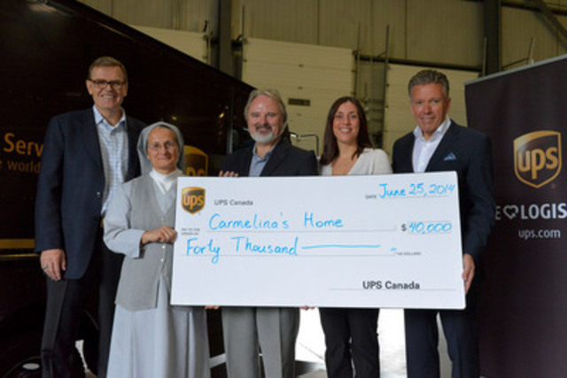 David Abney, UPS chief operating officer and CEO-elect, visits Toronto to support the organization's commitment to giving back to the local community. Alongside Michael Tierney, president, UPS Canada, Abney presents a $40,000 grant to Carmelina's Home, a residential program for women with addictions, substance abuse and emotional issues. (David Abney, Sister Christina, Martin Riley, Cristina Clements and Michael Tierney) (CNW Group/UPS Canada Ltd.)