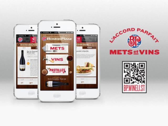 Boston Pizza est fière de dévoiler l'application mobile Winelist pour téléphones intelligents dans ses 25 restaurants du Québec (Groupe CNW/Sextans Internet) (Groupe CNW/Boston Pizza International Inc.)