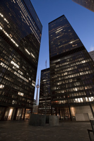 The TD Centre, Canada's iconic office complex, as seen at night (CNW Group/Cadillac Fairview Corporation Limited)