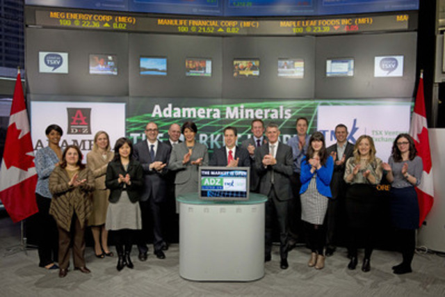 Mark Kolebaba, President, Director & CEO, Adamera Minerals Corp. (ADZ) joined Tim Babcock, Director, Listed Issuer Services, TSX Venture Exchange to open the market. Adamera Minerals Corp. is a junior exploration company exploring for gold/silver deposits in  Northeastern Washington State, within hauling distance of  Kettle River Mill and the Kinross Buckhorn gold deposit. Adamera Minerals Corp. commenced trading on TSX Venture Exchange on February 19, 2013. For more information please visit www.adamera.com (CNW Group/TMX Group Limited)
