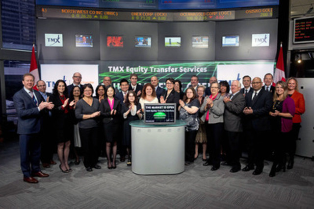 TMX Equity Transfer Services opened the market to celebrate the company's 25th Anniversary of providing securities transfer services to both public and private companies, as well as the advisory community in Canada and around the world. TMX Group acquired the transfer agent and corporate trust business from Equity Financial Holdings in April 2013 and renamed it TMX Equity Transfer Services. (CNW Group/TMX Group Limited)