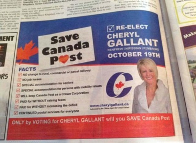 """Conservative Candidate Uses Union Logo for Canada Post Ad: Cheryl Gallant Accused of """"A Steady Stream of Lies"""" by CUPW (CNW Group/Canadian Union of Postal Workers)"""