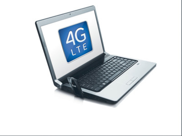 On September 22, Bell launched on its new 4G LTE network the 4G LTE Novatel Wireless U679 Turbo Stick. Seen here connected to a laptop. (CNW Group/BELL CANADA)
