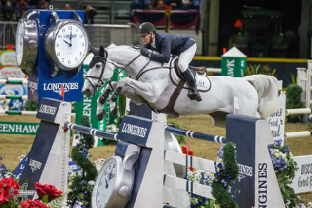 Two-time U.S. Olympic team gold medalist McLain Ward and Malou finished second in the $50,000 Weston Canadian Open at the CSI4*-W Royal Horse Show. Photo by Ben Radvanyi Photography (CNW Group/Royal Agricultural Winter Fair)