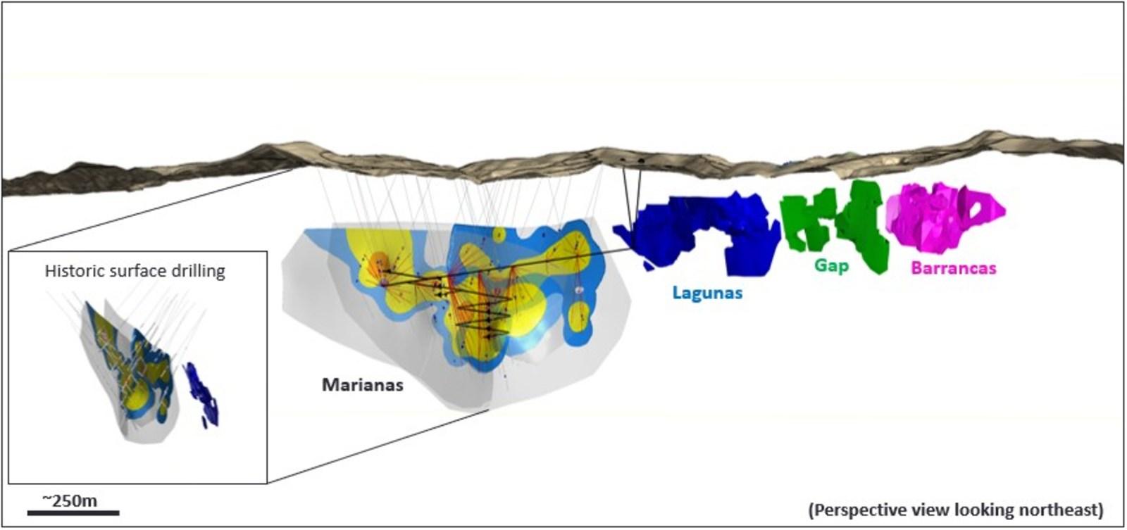 Figure 1 Marianas Zone located down-plunge of Lagunas