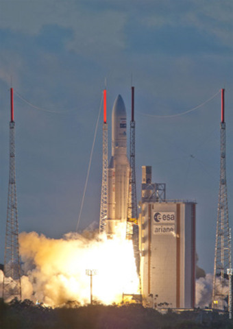 On July 5, 2012, an Ariane-5 rocket carrying the EchoStar XVII broadband satellite to be used by Xplornet was launched from Kourou, French Guiana. (CNW Group/Xplornet Communications Inc.)