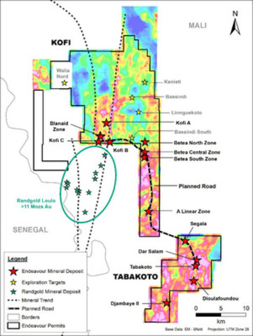 Tabakoto and Kofi Properties. (CNW Group/Endeavour Mining Corporation)