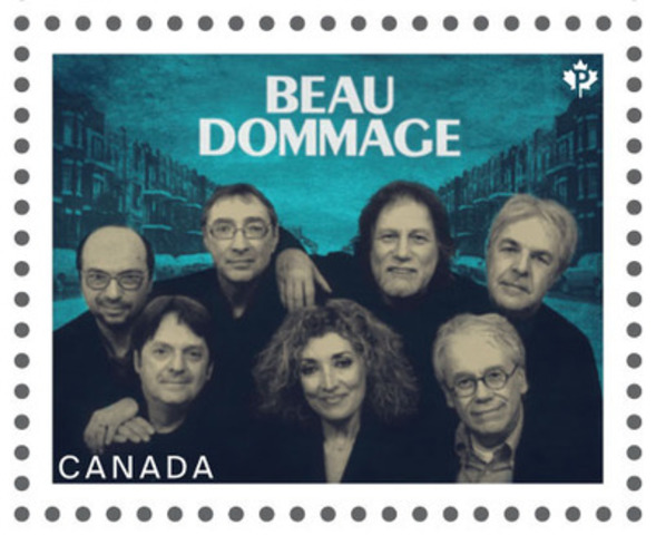 Canadian recording artist series stamp featuring Beau Dommage (CNW Group/Canada Post)