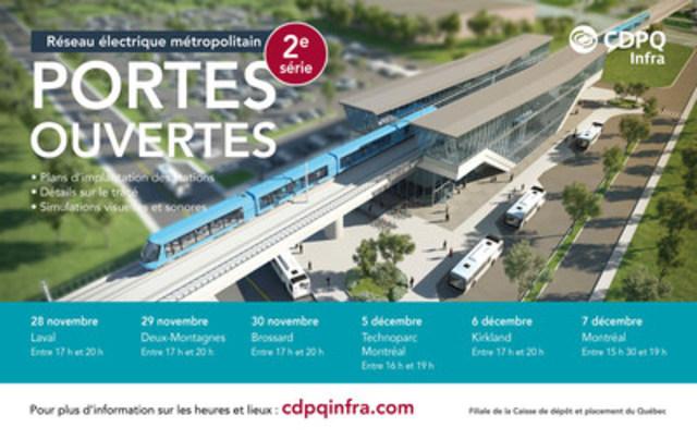 CDPQ Infra invite de nouveau la population à participer à la deuxième tournée de portes ouvertes qui se déroulera  de la fin du mois de novembre au début du mois de décembre (Groupe CNW/CDPQ Infra Inc.)