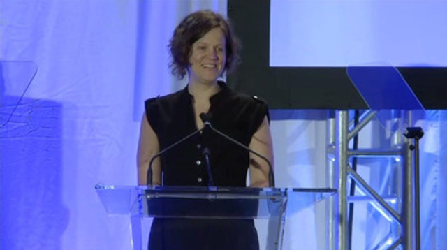 Video: Michelle Hoar, director of publishing and advertising of The Tyee, accepts the Excellence in Journalism Award in the small-media category at the 16th Annual Canadian Journalism Foundation Awards.