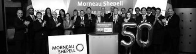 """Alan Torrie (pictured centre behind the podium), President and Chief Executive Officer, Morneau Shepell, together with colleagues, celebrates the 50th anniversary of the Company by opening the Toronto Stock Exchange."" (CNW Group/Morneau Shepell - Corporate)"
