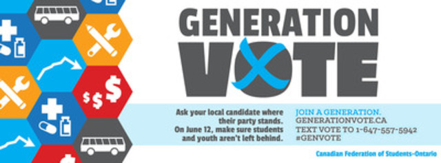 Generation Vote campaign encourages students and youth to vote and calls on provincial political parties to take action on important issues like tuition fees, unpaid internships and public transit. (CNW Group/Canadian Federation of Students - Ontario)