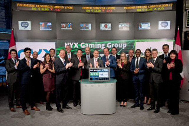 Matt Davey, CEO, NYX Gaming Group (NYX) joined Tim Babcock, Director, Listed Issuer Services, TSX Venture Exchange to open the market. NYX Gaming Group provides content and technology to lotteries, casinos and gaming operators globally. NYX Gaming Group is headquartered in Las Vegas with development out of Stockholm and Sydney. NYX Gaming Group commenced trading on TSX Venture Exchange on December 30, 2014. (CNW Group/TMX Group Limited)