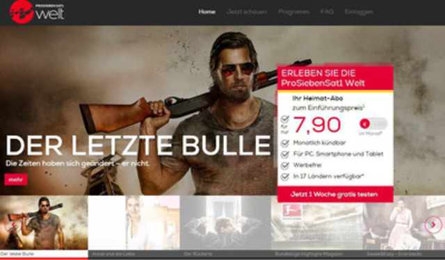 The new ProSiebenSat.1 Welt app and website lets subscribers enjoy their favourite shows at home or on the go ...