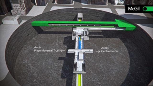 Schématisation de la station McGill permettant une connexion entre le REM et la ligne verte du métro de Montréal. (CNW Group/CDPQ Infra Inc.)
