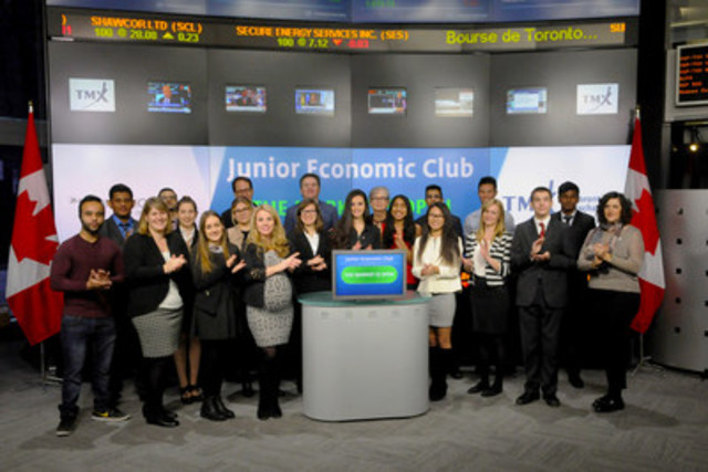 "Junior Economic Club of Canada joined Suzanne Peters, Director, Business Communications & Strategic Programs, TMX Group to open the market to celebrate their ""Day on Bay"" school program. This program was created to inspire high school students from across Ontario to become financially literate. Visiting Toronto's Financial District gives students a first-hand experience while teaching them the fundamentals of finance. For more information please visit http://www.economicclub.ca/about/jr-economic-club (CNW Group/TMX Group Limited)"
