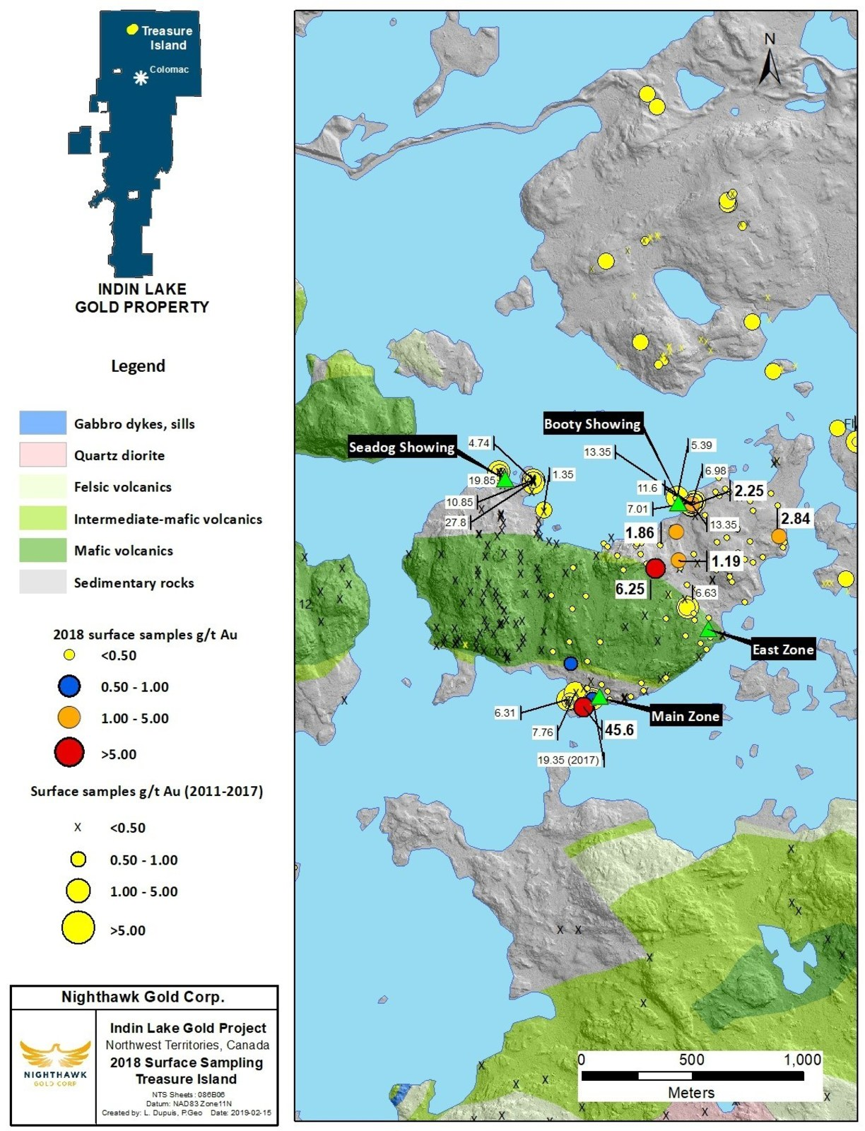 Figure 2. Treasure Island Sample Location Map and Select Surface Sample Results