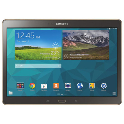 "The Samsung Galaxy Tab S has exceeded Future Shop's opening weekend sales expectations. The tablet comes in two sizes, 8.4"" and 10.5"" and is available in Dazzling White and Titanium Bronze. (CNW Group/Future Shop)"