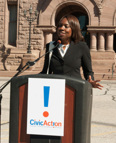 Mitzie Hunter shares highlights of the Our Region Our Move report in front of Queens Park (CNW Group/CivicAction)