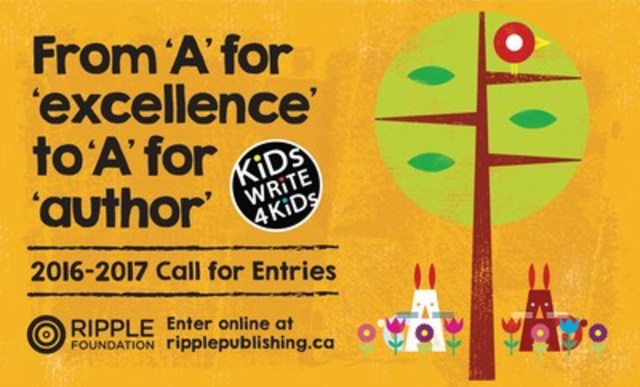 Turn your school assignment into a published book. Kids Write 4 Kids (KW4K) is excited to launch its fifth annual creative challenge. We are seeking students in grades 4-8 to share their creative stories. Proceeds from sales of all KW4K books will be donated to the schools of the selected authors. (CNW Group/Ripple Foundation)