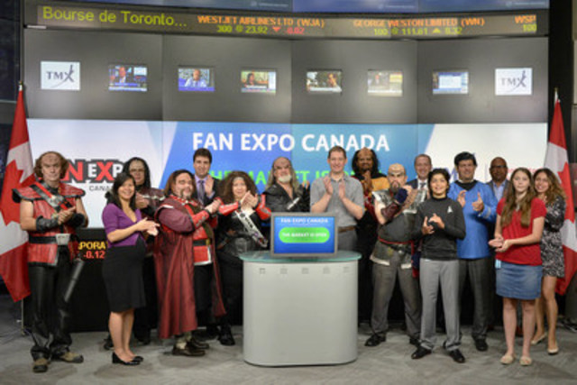 Andrew Moyes, Show Director, FAN EXPO Canada joined Rick Barber, Director, Product Development, Equities Trading, TMX Group to open the market to celebrate the launch of Fan EXPO Canada. Now entering its 21st  year, FAN EXPO Canada™ is one of the largest comic, sci-fi, horror, anime, and gaming events in Canada. Fan EXPO began as the Canadian National Comic Book Expo in 1995, growing from one genre with 1500 fans to a multifaceted show with over 120,00 fans and over 1000 exhibitors at the Metro Toronto Convention Centre. This year's Fan EXPO will run from September 3-6. (CNW Group/TMX Group Limited)