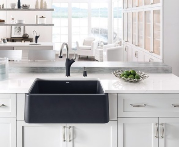 BLANCO IKON™ — The world's first apron front sink made of the natural granite composite material - SILGRANIT®, with all its strength, durability and beauty.  BLANCO IKON™ is available in three popular SILGRANIT® colours: Anthracite, Café and White, and also features a unique floating sink accessory. (CNW Group/BLANCO Canada Inc.)