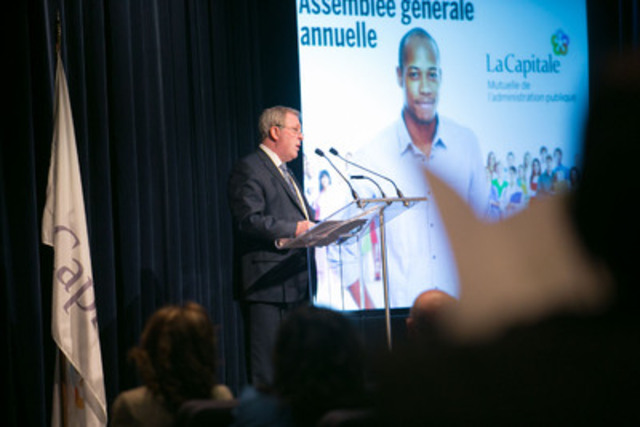Mr. René Rouleau, President and Chief Executive Officer  during La Capitale's Annuel General Meeting held in Quebec City on April 8, 2015. (CNW Group/La Capitale Financial Group Inc.)