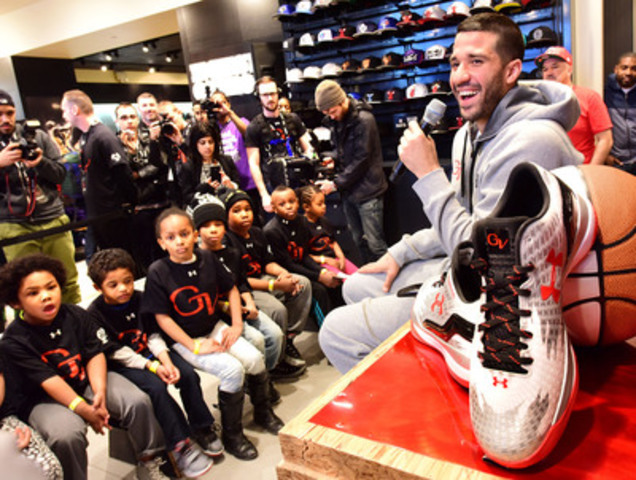 Greivis Vasquez celebrates the release of his player exclusive edition of the Under Armour ClutchFit Drive, dubbed The North Six, which celebrates the city of Toronto and the Toronto Raptors. Under Armour released a limited run of the shoes on Saturday. Vasquez was at Foot Locker at Yonge and Dundas to celebrate the launch. (CNW Group/Under Armour, Inc.)